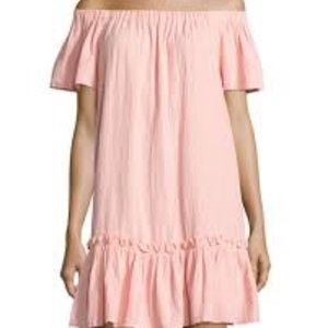 .Rebecca Taylor//Pink Peplum Hem Off The Shoulder